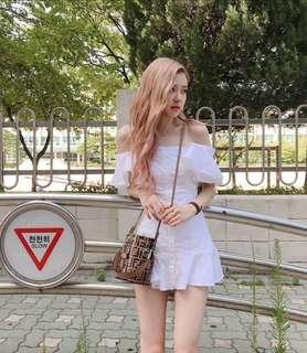 [FAST PO] Korean Ulzzang Blackpink Rose Off Shoulder Retro Slim White Lotus Dress Fairy Elegant