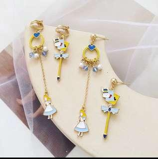 愛麗絲耳夾 兔子 珠珠 耳環 alice in the wonderland earrings