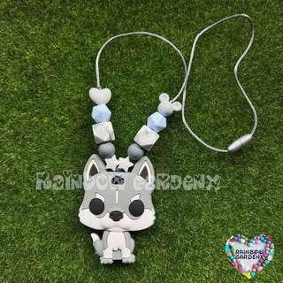 Light Grey Dog Teether with beads Teething Necklace