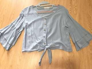 TEMT Blue Flare Buttoned Top