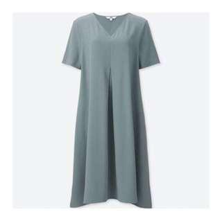 UNIQLO casual blue grey with pocket flare dress