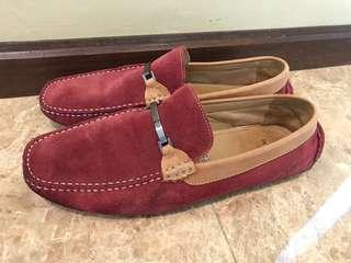 BONIA Leather Suede Shoes- Maroon
