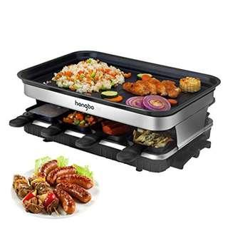 0106_Rustic Stone Raclette Grill with Non-Stick Coated Thermal Insulated Handles 8 Tray for 8 persons 1500 W Black