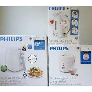 BUNDLE DEAL - Brand New Philips Air Fryer HD9216 / Philips 1.5L Rice Cooker HD3016 / Philips 1.5L Kettle HD4646