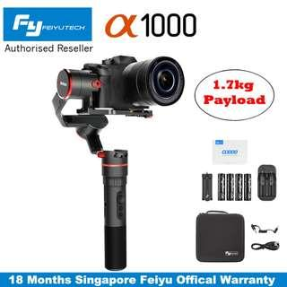 Feiyu a1000 SLANT (New Version Payload 1.7kg) 3-Axis Handheld Gimbal Stabilizer for DSLR, Mirrorless Camera and Action Camera