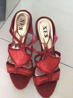 XES Red Open Toe Heels