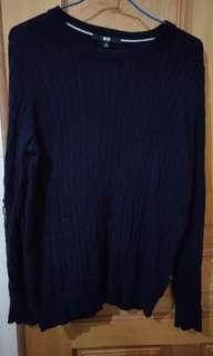 🚚 Uniqlo 深藍 針織 毛衣 上衣(已保留勿下標)