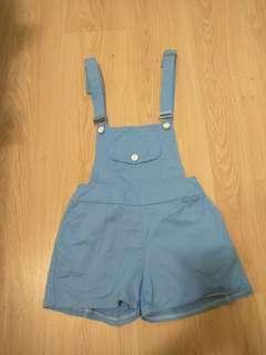 🚚 水藍 吊帶短褲 吊帶褲