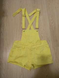 🚚 黃色 吊帶短褲 吊帶褲