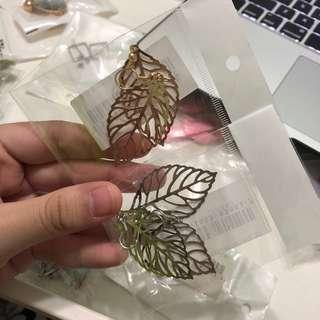 CLEARANCE !! gold/silver leaf earrings