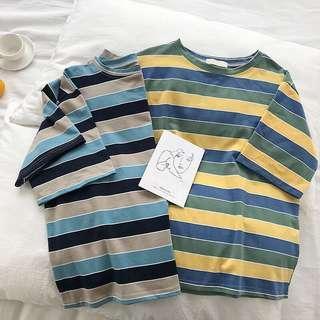 #725 Basic Ulzzang Colour Stripes Oversized Tee (PO)
