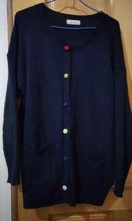 🚚 日系 深藍 針織 口袋 外套