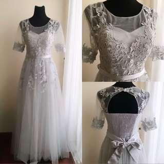 Light Grey Sheer Lace Prom/Evening Gown