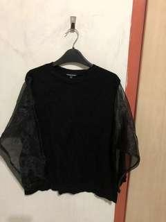 Black Pullover with mesh sleeves