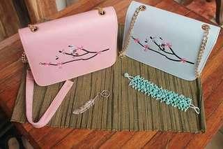 Sakura design sling bag