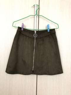 yishion navy green a line skirt