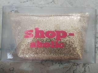 BN shop-aholic gold pouch