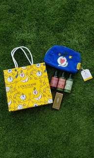 BN 4pc travel set + pouch loccitane l'occitane