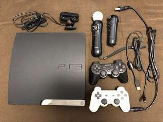 🚚 PS3 黑色主機 沒改 (手把一黑一白,Motion手把一組,偵測攝影機,電源線一條,手把充電線一條)