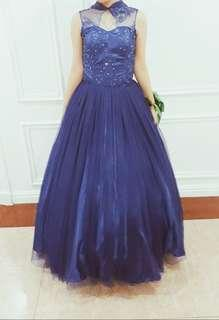 Blue collar ball gown