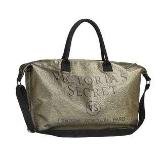 Instock! VS VICTORIA'S SECRET Go Big Sparkle 2-Way Carry Tote / Sling Bag (Gold) PO111500163 + FREE Post!