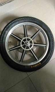 16inch front wheel, w brake disc, tyre, tube