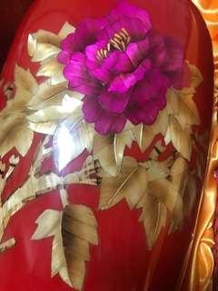 景德鎮陶瓷器麥稈花瓶中國紅牡丹瓶家、冬瓜瓶高44、瓶口14,送底座及外盒並請比較大小