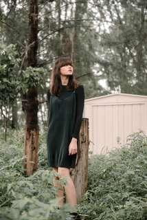 Forest Dark Green Emerald Suede Pinafore Jumpsuit Overall Dress