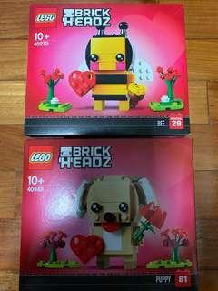 Lego Valentine Bee 40270 & Puppy Brickheadz 40349