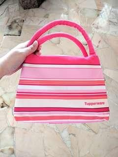 BN Tupperware Pink Striped Lunch Bag