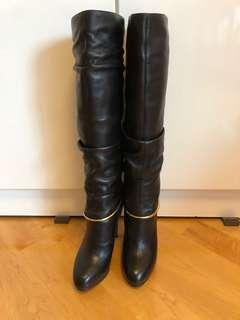 Sergio Rossi black long boots 黑色真皮