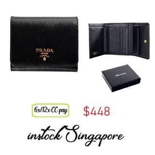 57820047eba0 READY STOCK authentic new Prada Womens 1MH176 2EZZ Vitello Move Leather  Tri-Fold Wallet Nero