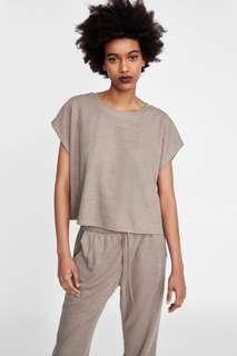 (NEW) ZARA Cropped T-Shirt Tee Top