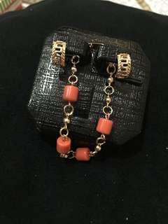 💥BUNDLE💥 coral bracelet+ rosegold earrings