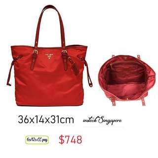 0090a879f621 READY STOCK authentic new Prada BR4997 Nylon Shoulder Tote Bag with Leather  Drawstring