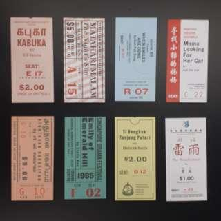 Reprint Old Time Singapore Drama Ticket x 8 Completed with Folder