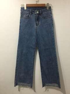 韓版 牛仔 寬褲 修飾款 顯瘦