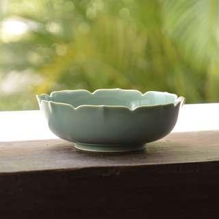 Green Glazed Bowl with Scallop Edges 6.2 inches diameter, 2 inches height.