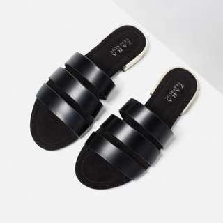 [size 36] zara inspired triple band slides with metal heel in black