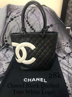 Chanel Black Quilted Tote White Logo