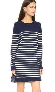 Knitted Navy Blue and White Stripes Shift Dress with Front Pocket
