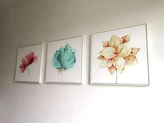 A set of 3 wall canvas flower prints #homerefresh30
