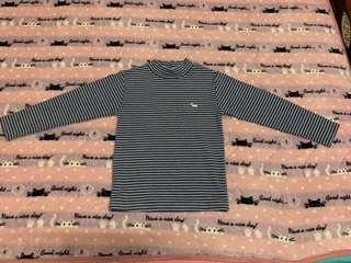 (二手 粗穿)藍底白條紋/高領上衣/有點厚度/9號