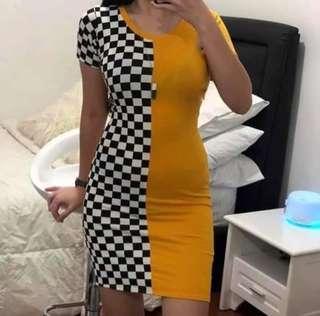 Checkered Plain Dress