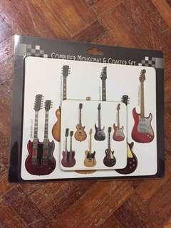 Electric guitar mousepad and coaster set