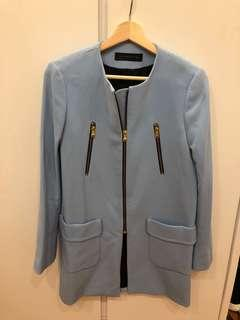 Zara 淺藍色中褸 blue coat