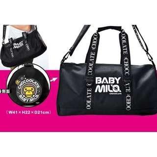 Instock! CHOCOOLATE - BABY MILO - BAPE BATHING APE Black Duffel Bag *GWP Japanese Magazine*  ASC3188 + Free Post!