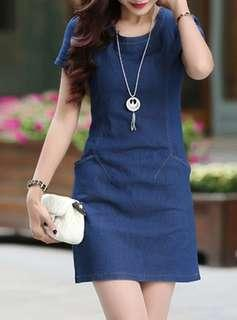 Denim Short Sleeve Dress with Side Pockets and Necklace