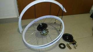 20inch bicycle rim, mudguard,drum brake, freewheel