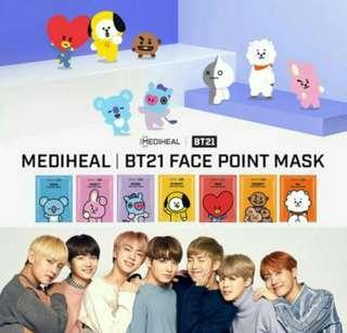 [Pre order]BTS BT21 face point mask (4pcs)